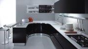 Радиусная черная кухня с столешницей из искуственного камня. Кухни на заказ в Симферополе, Севастополе, Ялте, ЮБК, Алуште, Судаке, Коктебеле, Феодосии, Керчи,