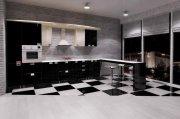 Черно-белая глянцевая кухня МДКе-102 Кухни индивидуально на заказ в Киеве, Броварах, Боярке, Вишневом, Ирпени, Белой церкви