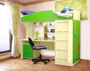 Двухэтажная детская кровать с рабочей зоной
